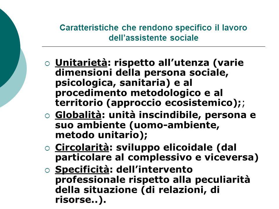 Caratteristiche che rendono specifico il lavoro dellassistente sociale Unitarietà: rispetto allutenza (varie dimensioni della persona sociale, psicolo
