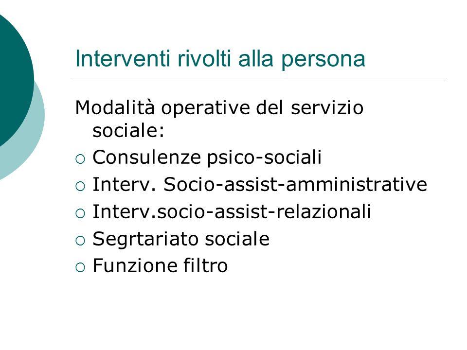 Interventi rivolti alla persona Modalità operative del servizio sociale: Consulenze psico-sociali Interv. Socio-assist-amministrative Interv.socio-ass