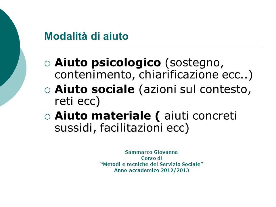 Modalità di aiuto Aiuto psicologico (sostegno, contenimento, chiarificazione ecc..) Aiuto sociale (azioni sul contesto, reti ecc) Aiuto materiale ( ai