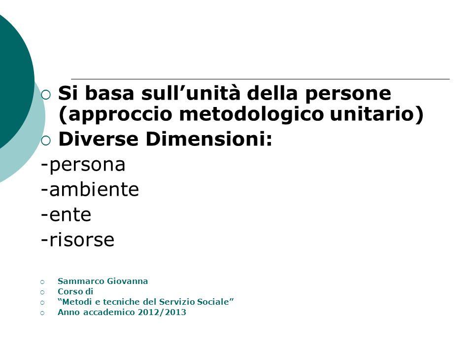 Si basa sullunità della persone (approccio metodologico unitario) Diverse Dimensioni: -persona -ambiente -ente -risorse Sammarco Giovanna Corso di Met