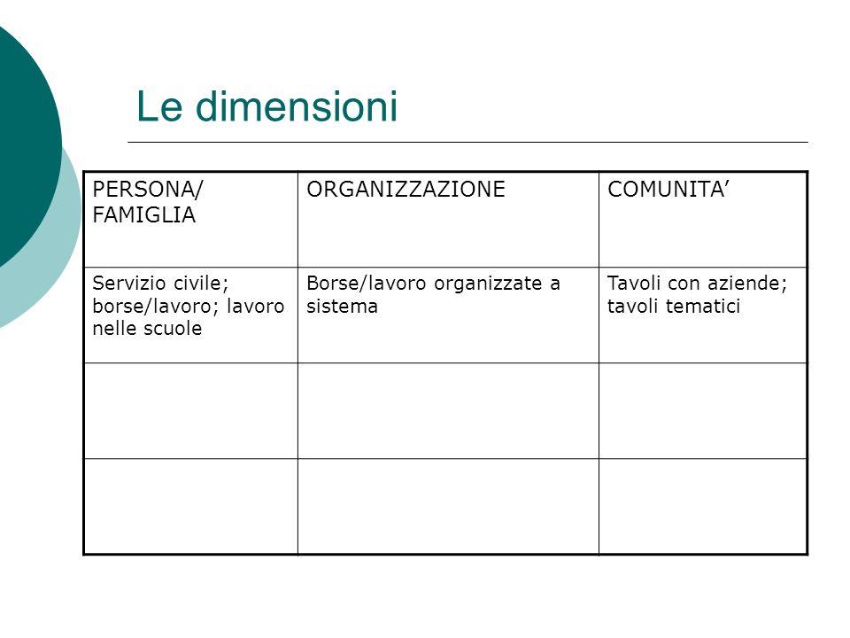 Le dimensioni PERSONA/ FAMIGLIA ORGANIZZAZIONECOMUNITA Servizio civile; borse/lavoro; lavoro nelle scuole Borse/lavoro organizzate a sistema Tavoli co