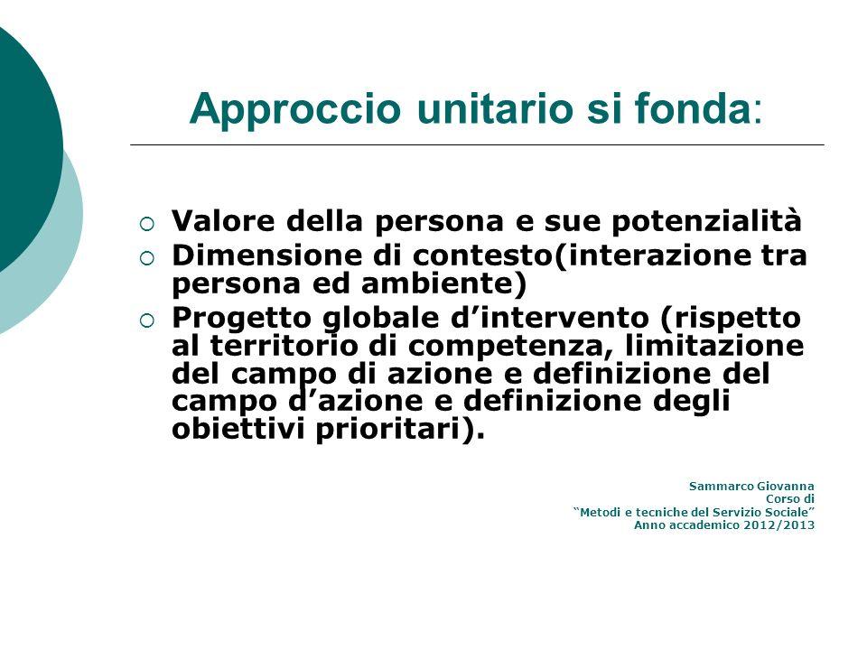 Approccio unitario si fonda: Valore della persona e sue potenzialità Dimensione di contesto(interazione tra persona ed ambiente) Progetto globale dint