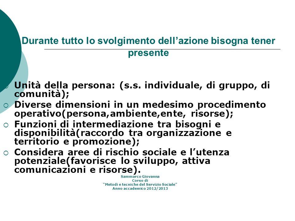 Durante tutto lo svolgimento dellazione bisogna tener presente Unità della persona: (s.s. individuale, di gruppo, di comunità); Diverse dimensioni in
