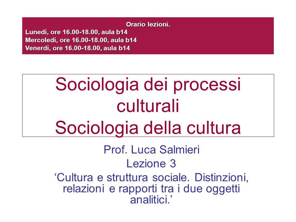 Sociologia dei processi culturali Sociologia della cultura Prof. Luca Salmieri Lezione 3 Cultura e struttura sociale. Distinzioni, relazioni e rapport
