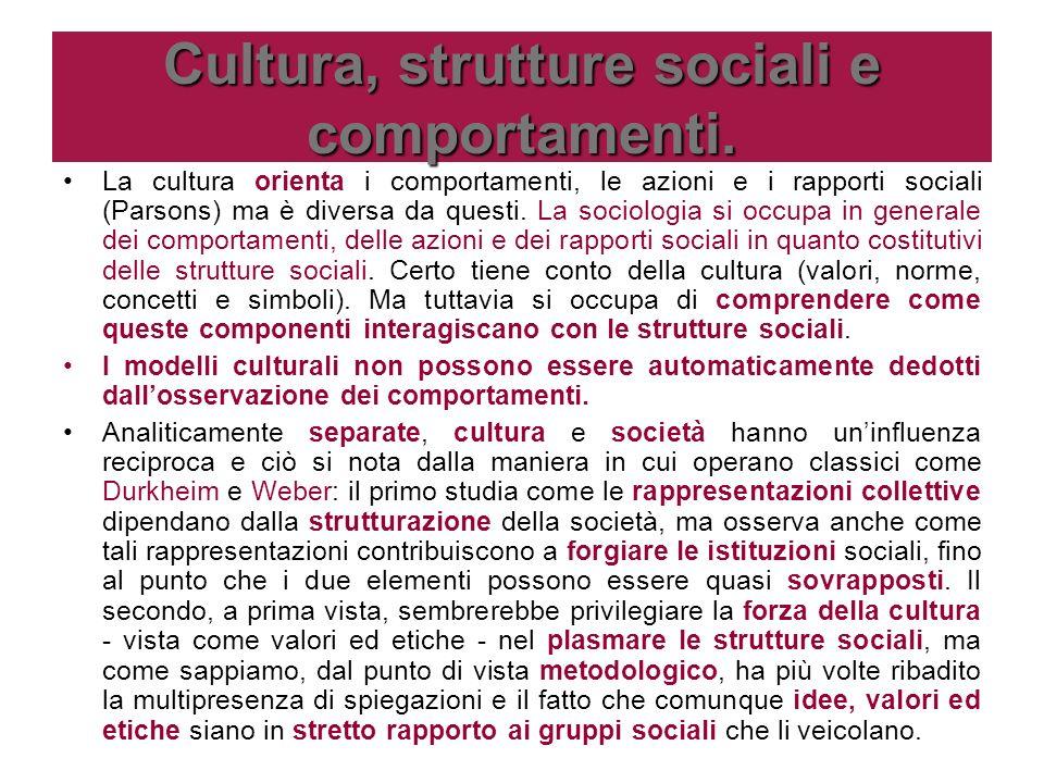 Cultura, strutture sociali e comportamenti. La cultura orienta i comportamenti, le azioni e i rapporti sociali (Parsons) ma è diversa da questi. La so