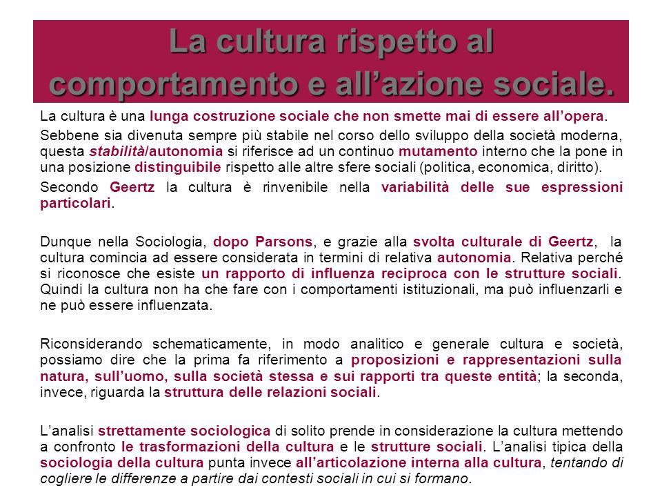 La cultura rispetto al comportamento e allazione sociale. La cultura è una lunga costruzione sociale che non smette mai di essere allopera. Sebbene si