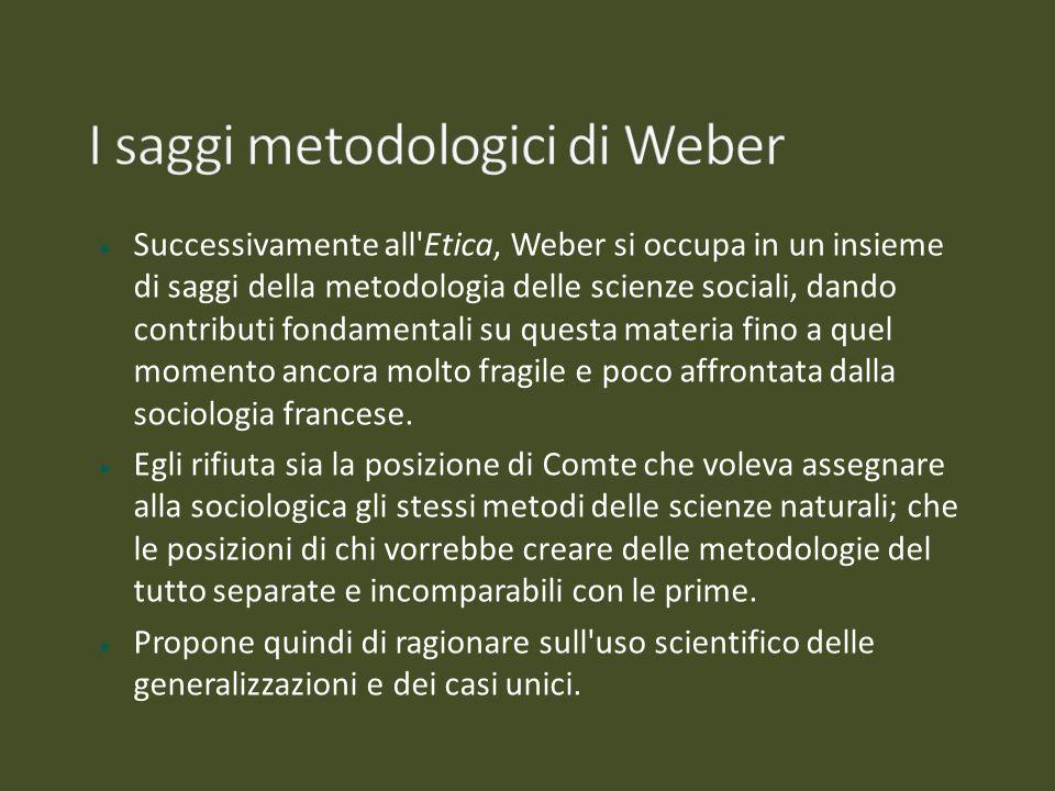 Successivamente all'Etica, Weber si occupa in un insieme di saggi della metodologia delle scienze sociali, dando contributi fondamentali su questa mat