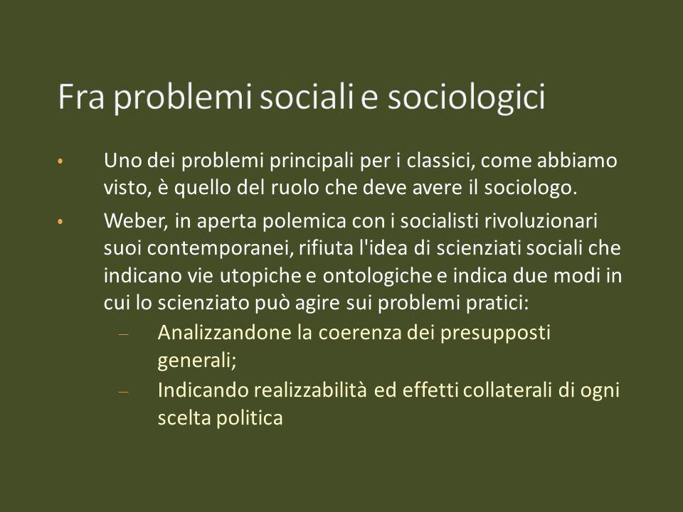 Uno dei problemi principali per i classici, come abbiamo visto, è quello del ruolo che deve avere il sociologo. Weber, in aperta polemica con i social