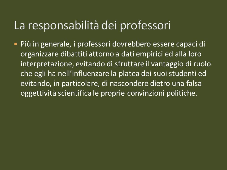 Più in generale, i professori dovrebbero essere capaci di organizzare dibattiti attorno a dati empirici ed alla loro interpretazione, evitando di sfru