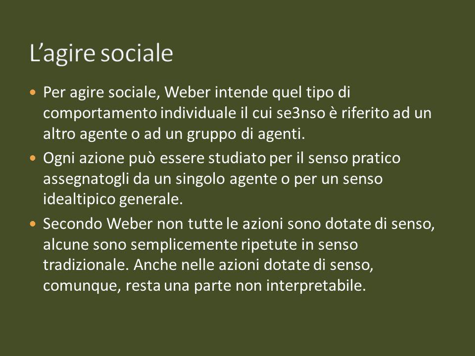 Per agire sociale, Weber intende quel tipo di comportamento individuale il cui se3nso è riferito ad un altro agente o ad un gruppo di agenti. Ogni azi