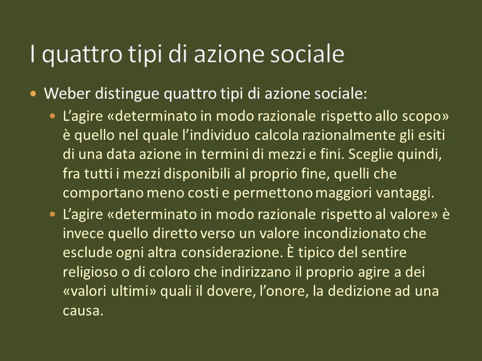 Weber distingue quattro tipi di azione sociale: Lagire «determinato in modo razionale rispetto allo scopo» è quello nel quale lindividuo calcola razio