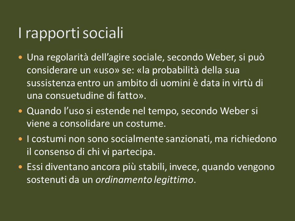Una regolarità dellagire sociale, secondo Weber, si può considerare un «uso» se: «la probabilità della sua sussistenza entro un ambito di uomini è dat