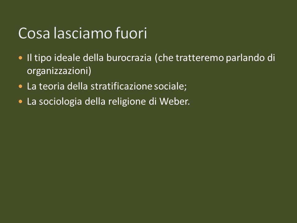 Il tipo ideale della burocrazia (che tratteremo parlando di organizzazioni) La teoria della stratificazione sociale; La sociologia della religione di
