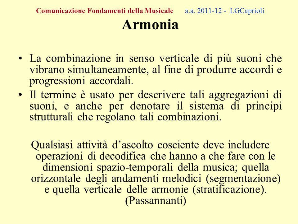 Comunicazione Fondamenti della Musicale a.a. 2011-12 - LGCaprioli Armonia La combinazione in senso verticale di più suoni che vibrano simultaneamente,