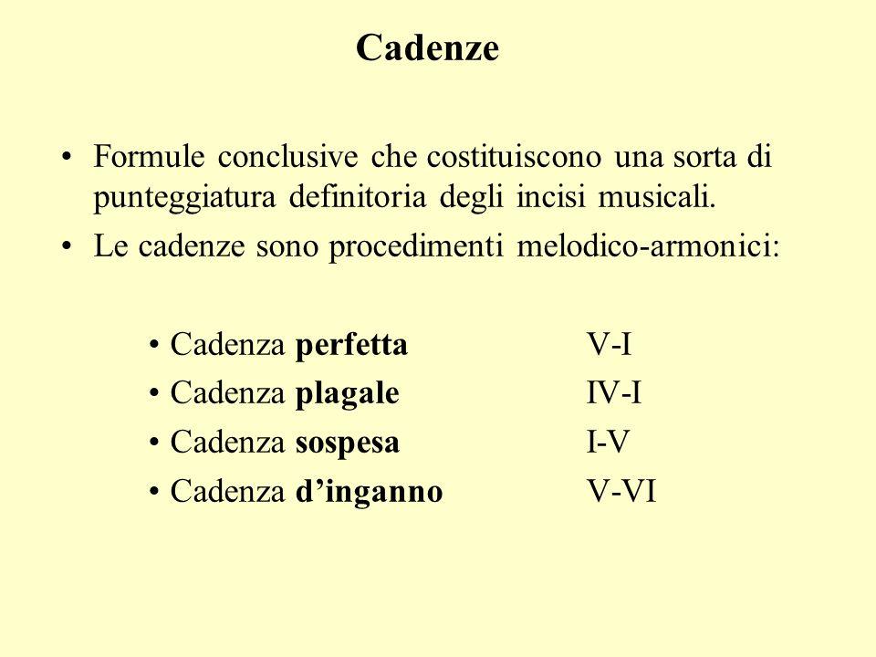 Cadenze Formule conclusive che costituiscono una sorta di punteggiatura definitoria degli incisi musicali. Le cadenze sono procedimenti melodico-armon