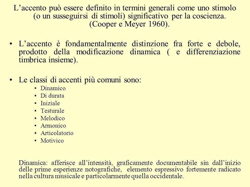 Laccento può essere definito in termini generali come uno stimolo (o un susseguirsi di stimoli) significativo per la coscienza. (Cooper e Meyer 1960).