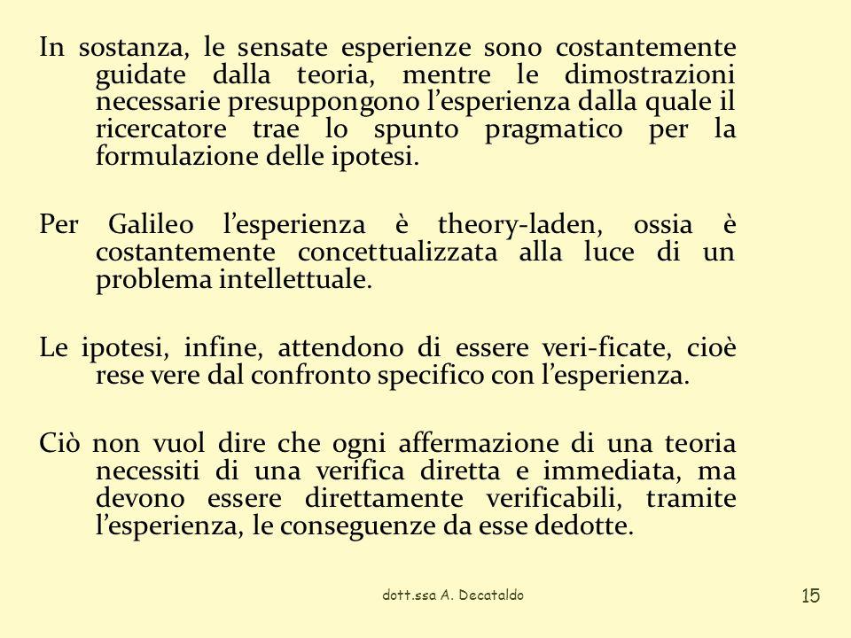 In sostanza, le sensate esperienze sono costantemente guidate dalla teoria, mentre le dimostrazioni necessarie presuppongono lesperienza dalla quale i