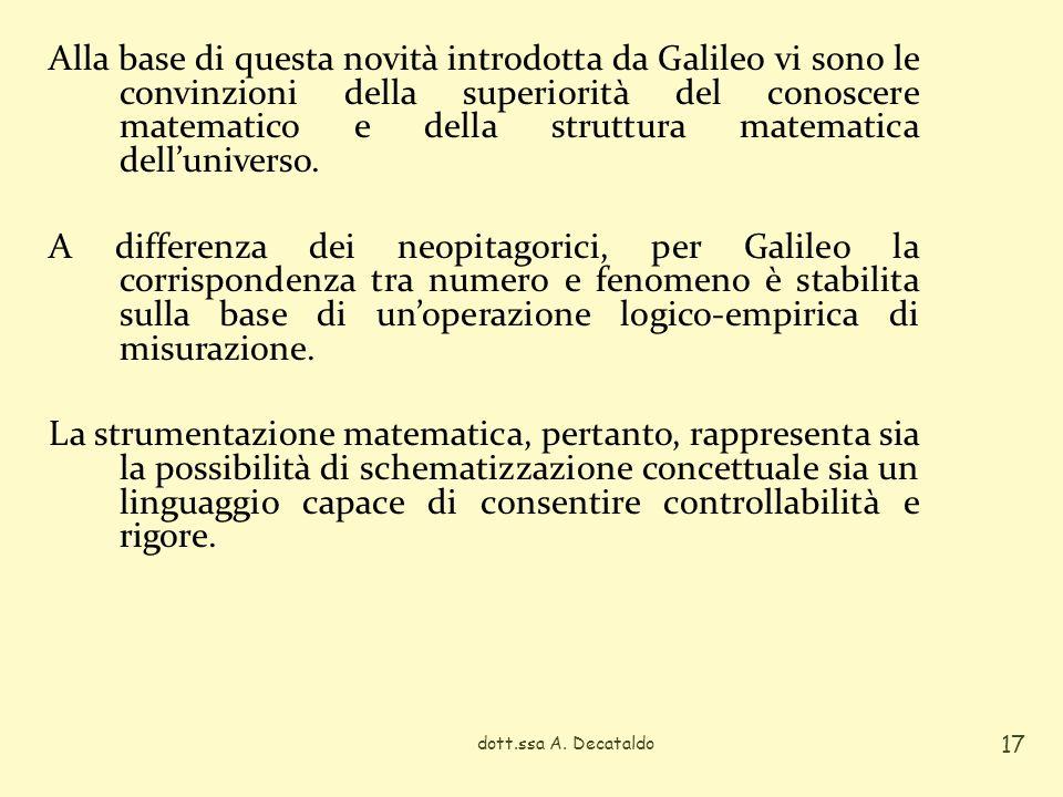 Alla base di questa novità introdotta da Galileo vi sono le convinzioni della superiorità del conoscere matematico e della struttura matematica dellun