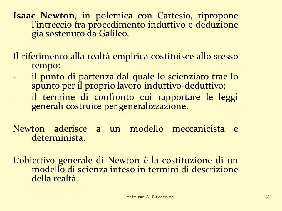 Isaac Newton, in polemica con Cartesio, ripropone lintreccio fra procedimento induttivo e deduzione già sostenuto da Galileo. Il riferimento alla real