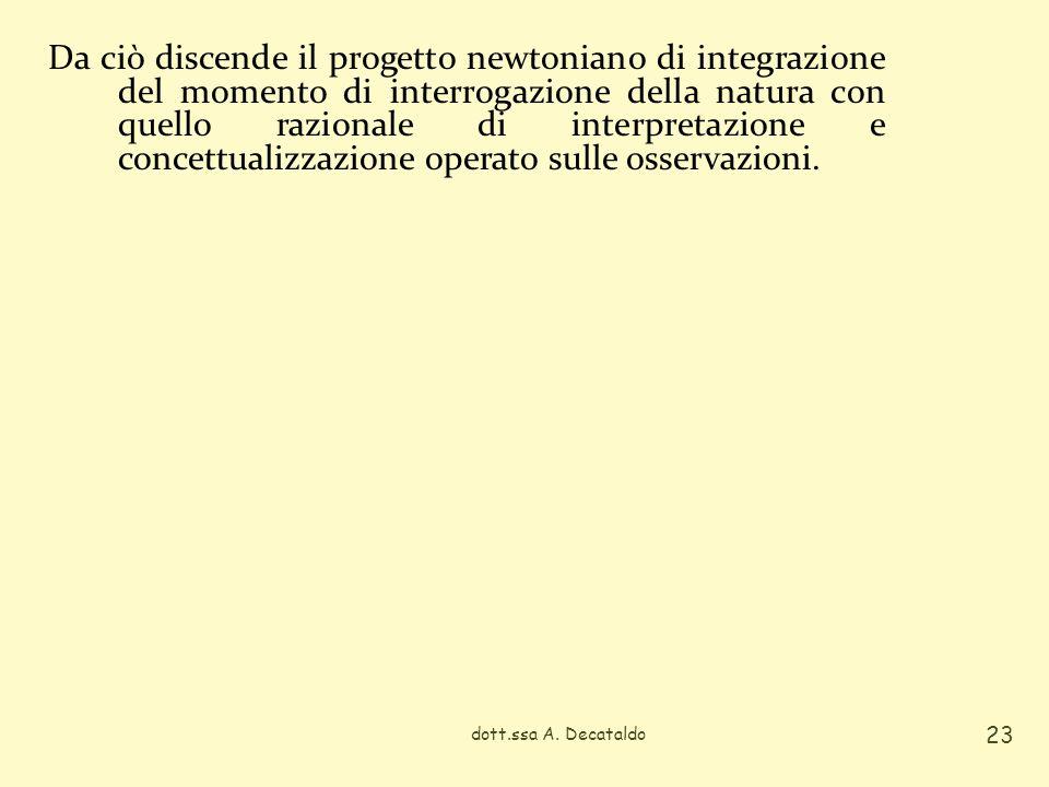 Da ciò discende il progetto newtoniano di integrazione del momento di interrogazione della natura con quello razionale di interpretazione e concettual