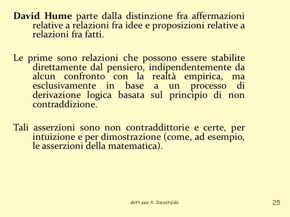 David Hume parte dalla distinzione fra affermazioni relative a relazioni fra idee e proposizioni relative a relazioni fra fatti. Le prime sono relazio