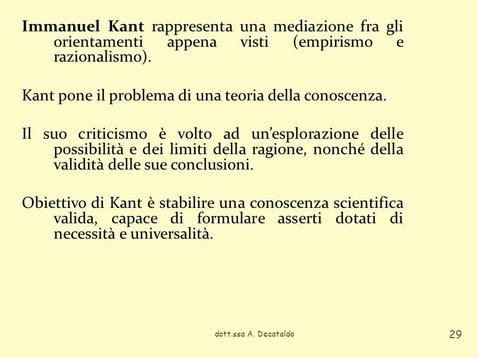 Immanuel Kant rappresenta una mediazione fra gli orientamenti appena visti (empirismo e razionalismo). Kant pone il problema di una teoria della conos