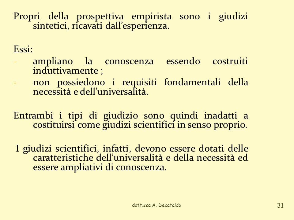Propri della prospettiva empirista sono i giudizi sintetici, ricavati dallesperienza. Essi: - ampliano la conoscenza essendo costruiti induttivamente