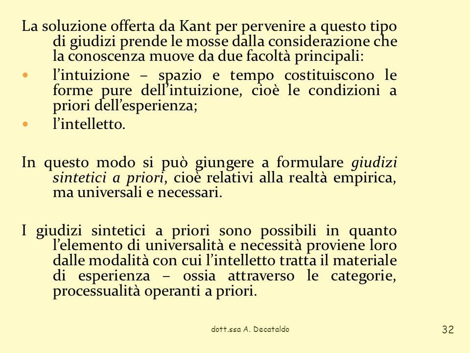 La soluzione offerta da Kant per pervenire a questo tipo di giudizi prende le mosse dalla considerazione che la conoscenza muove da due facoltà princi