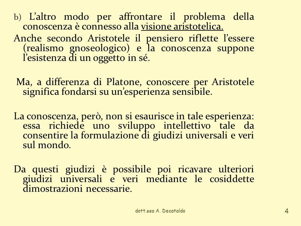 b) Laltro modo per affrontare il problema della conoscenza è connesso alla visione aristotelica. Anche secondo Aristotele il pensiero riflette lessere