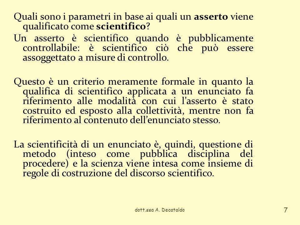 Quali sono i parametri in base ai quali un asserto viene qualificato come scientifico? Un asserto è scientifico quando è pubblicamente controllabile: