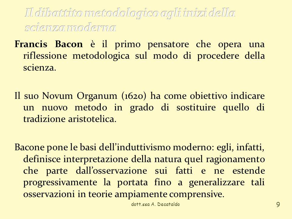 Francis Bacon è il primo pensatore che opera una riflessione metodologica sul modo di procedere della scienza. Il suo Novum Organum (1620) ha come obi
