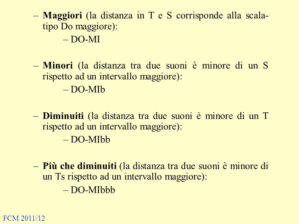 –Maggiori (la distanza in T e S corrisponde alla scala- tipo Do maggiore): –DO-MI –Minori (la distanza tra due suoni è minore di un S rispetto ad un i