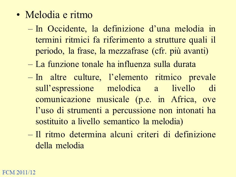 Melodia e ritmo –In Occidente, la definizione duna melodia in termini ritmici fa riferimento a strutture quali il periodo, la frase, la mezzafrase (cf