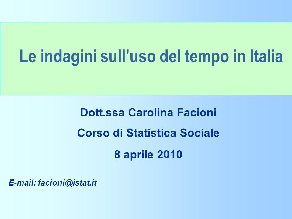 Il Progetto Torino e Il tempo della città (2) Unità di rilevazione è il cd.