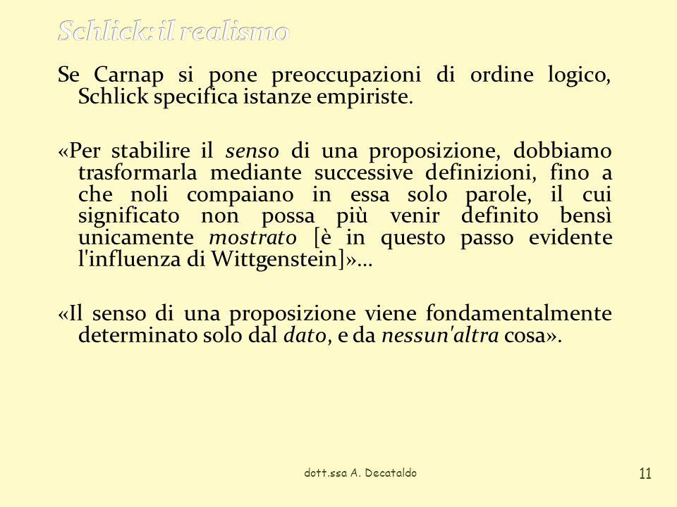 dott.ssa A. Decataldo 11 Se Carnap si pone preoccupazioni di ordine logico, Schlick specifica istanze empiriste. «Per stabilire il senso di una propos