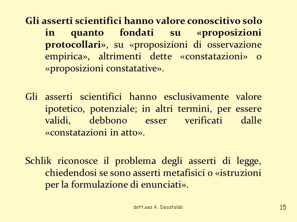 dott.ssa A. Decataldo 15 Gli asserti scientifici hanno valore conoscitivo solo in quanto fondati su «proposizioni protocollari», su «proposizioni di o