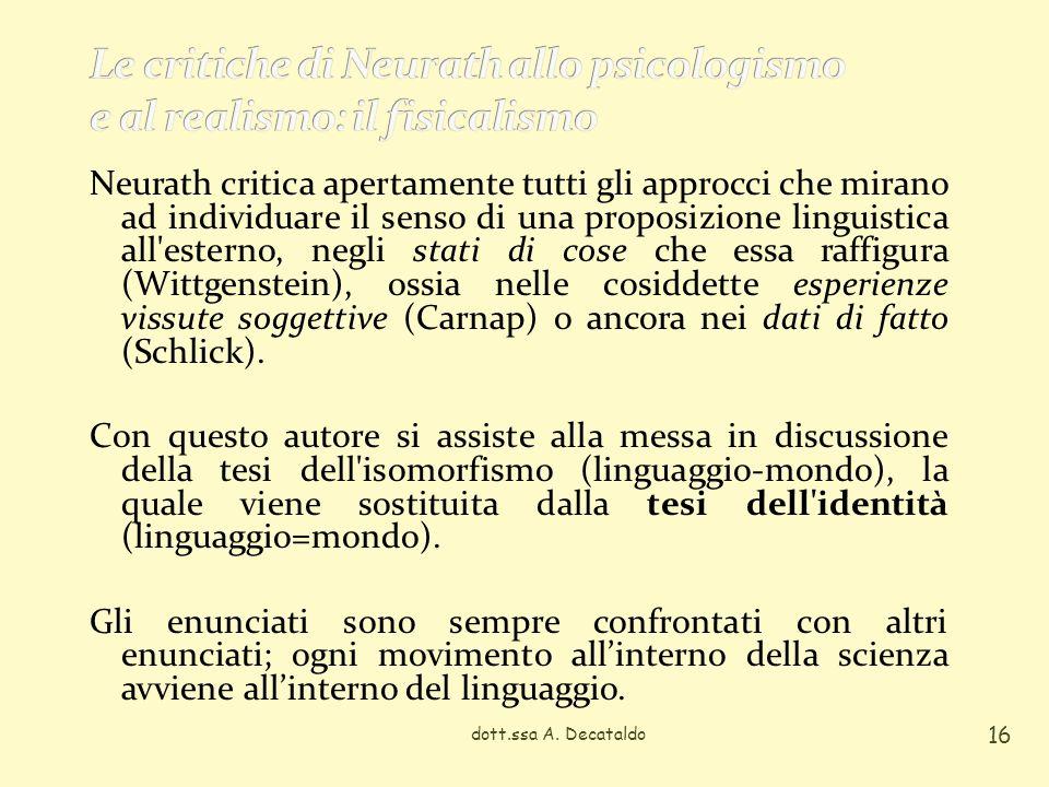 dott.ssa A. Decataldo 16 Neurath critica apertamente tutti gli approcci che mirano ad individuare il senso di una proposizione linguistica all'esterno