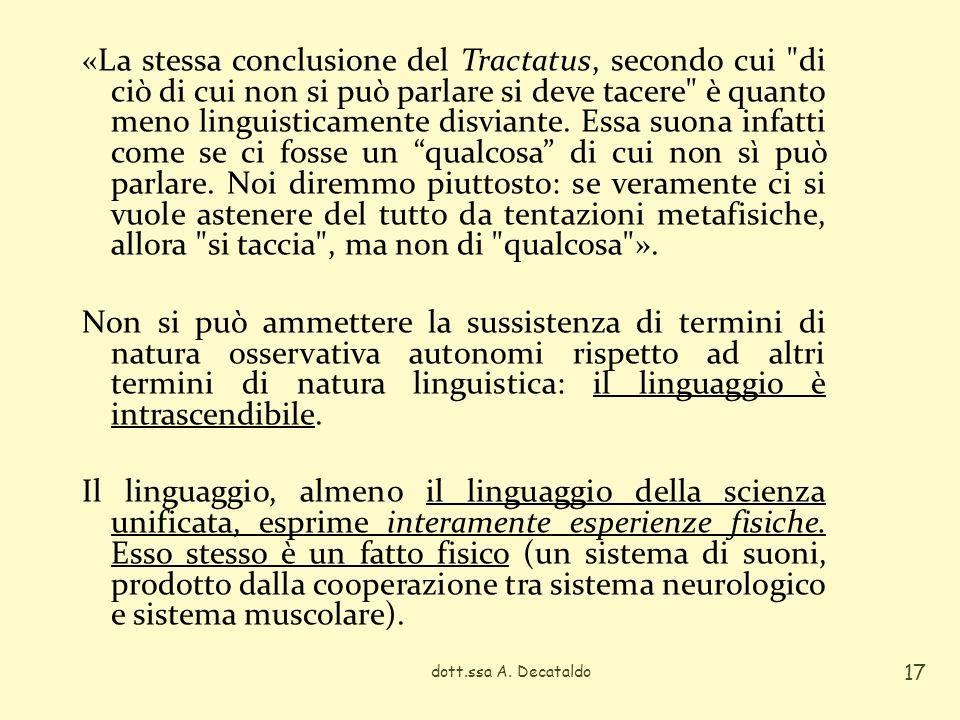 dott.ssa A. Decataldo 17 «La stessa conclusione del Tractatus, secondo cui