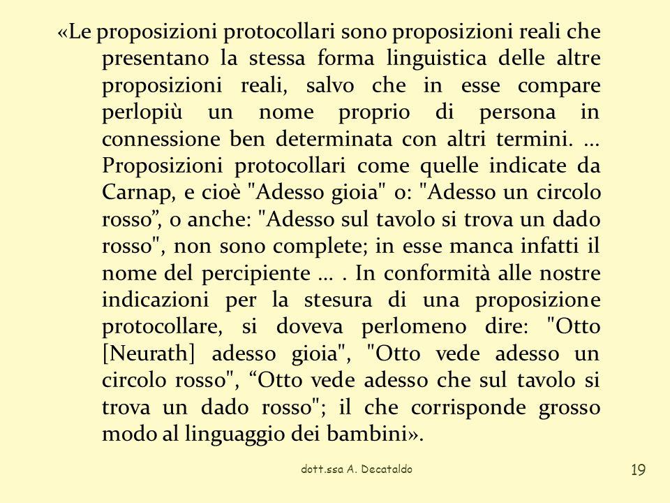 dott.ssa A. Decataldo 19 «Le proposizioni protocollari sono proposizioni reali che presentano la stessa forma linguistica delle altre proposizioni rea