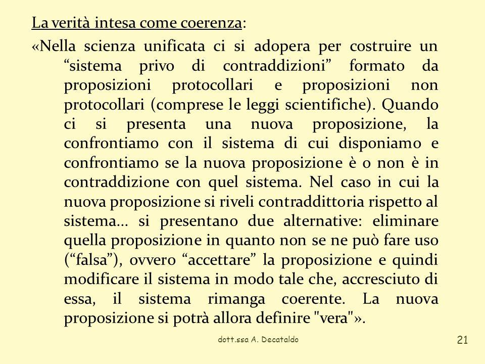 dott.ssa A. Decataldo 21 La verità intesa come coerenza: «Nella scienza unificata ci si adopera per costruire un sistema privo di contraddizioni forma