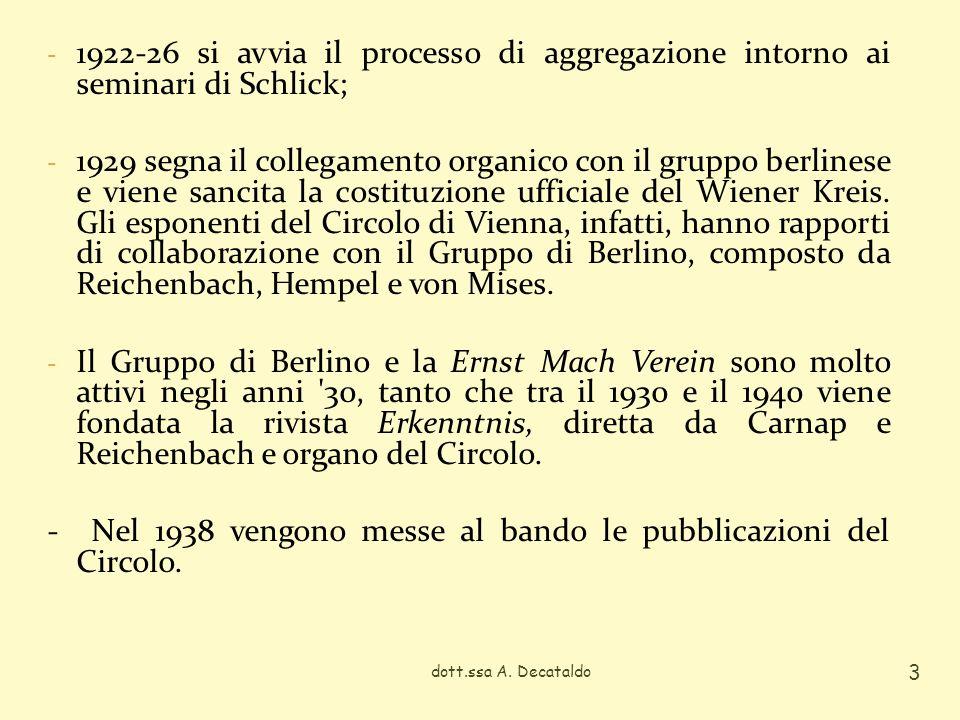 dott.ssa A. Decataldo 3 - 1922-26 si avvia il processo di aggregazione intorno ai seminari di Schlick; - 1929 segna il collegamento organico con il gr