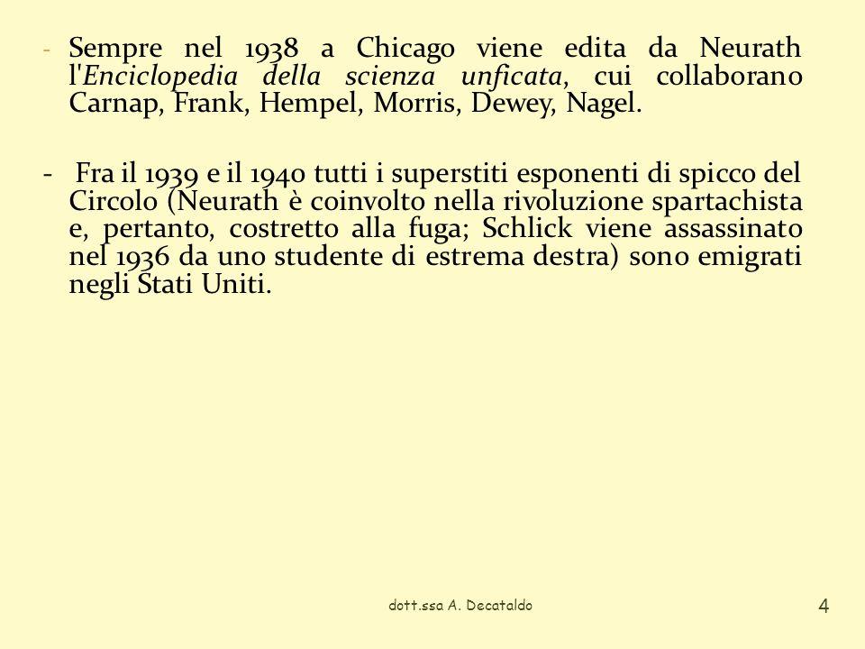 dott.ssa A. Decataldo 4 - Sempre nel 1938 a Chicago viene edita da Neurath l'Enciclopedia della scienza unficata, cui collaborano Carnap, Frank, Hempe