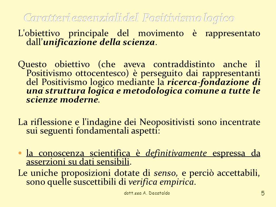 dott.ssa A. Decataldo 5 L'obiettivo principale del movimento è rappresentato dallunificazione della scienza. Questo obiettivo (che aveva contraddistin