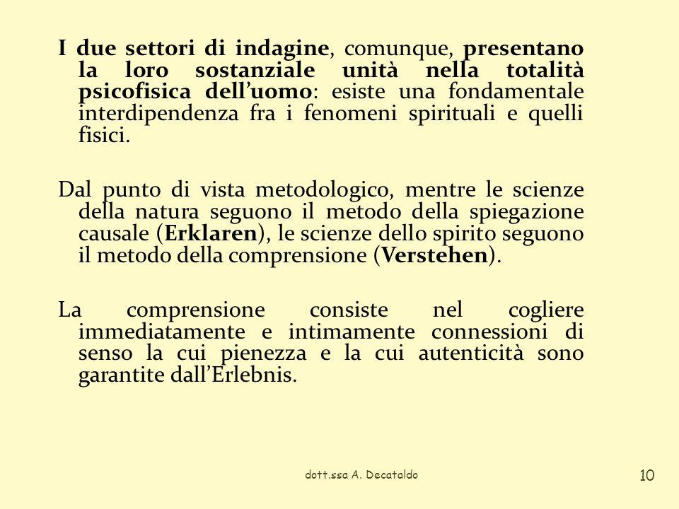 I due settori di indagine, comunque, presentano la loro sostanziale unità nella totalità psicofisica delluomo: esiste una fondamentale interdipendenza
