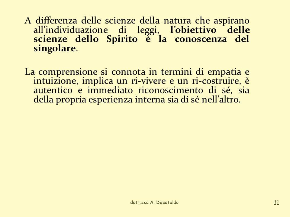 A differenza delle scienze della natura che aspirano allindividuazione di leggi, lobiettivo delle scienze dello Spirito è la conoscenza del singolare.