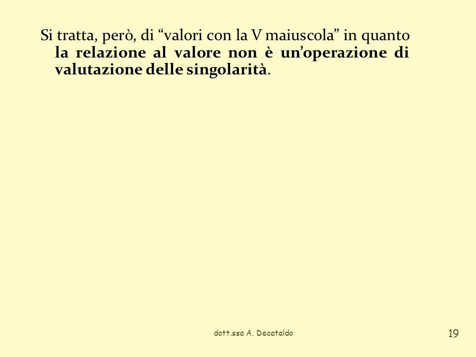 Si tratta, però, di valori con la V maiuscola in quanto la relazione al valore non è unoperazione di valutazione delle singolarità. dott.ssa A. Decata