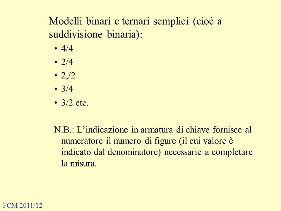 –Modelli binari e ternari semplici (cioè a suddivisione binaria): 4/4 2/4 2,/2 3/4 3/2 etc. N.B.: Lindicazione in armatura di chiave fornisce al numer