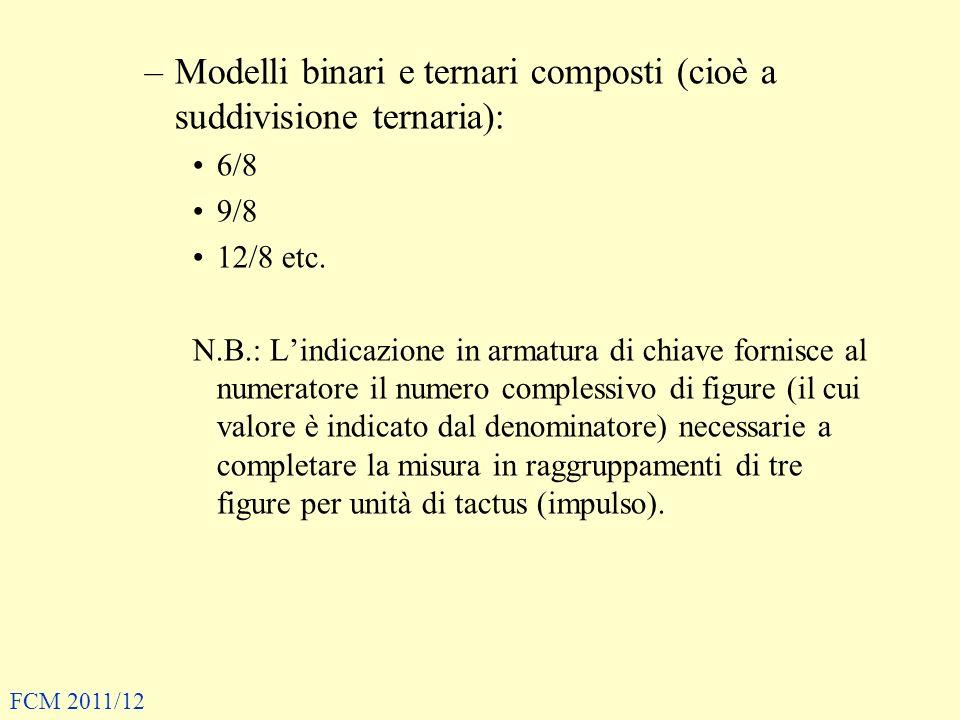 –Modelli binari e ternari composti (cioè a suddivisione ternaria): 6/8 9/8 12/8 etc. N.B.: Lindicazione in armatura di chiave fornisce al numeratore i