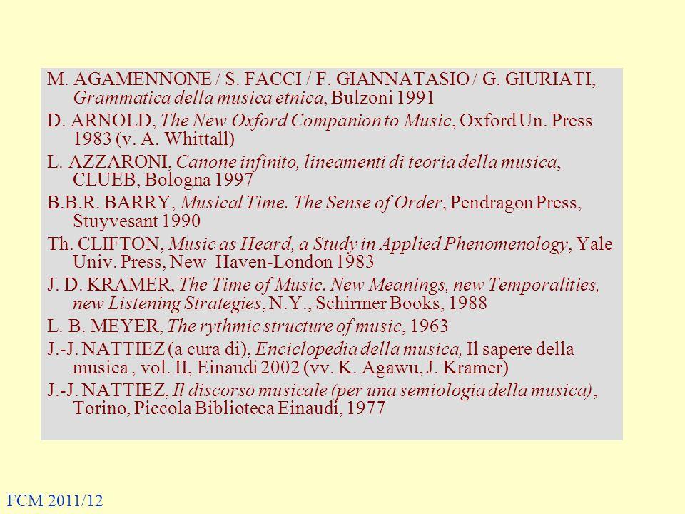 M. AGAMENNONE / S. FACCI / F. GIANNATASIO / G. GIURIATI, Grammatica della musica etnica, Bulzoni 1991 D. ARNOLD, The New Oxford Companion to Music, Ox