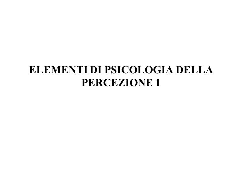 ELEMENTI DI PSICOLOGIA DELLA PERCEZIONE 1
